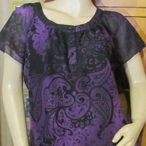 Apt. 9 Purple & Black Blouse size M